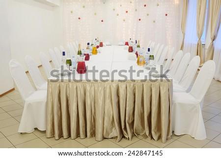 Banquet facilities table setting - stock photo