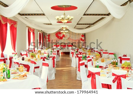 banquet hall or other function facility set for fine dining - stock photo