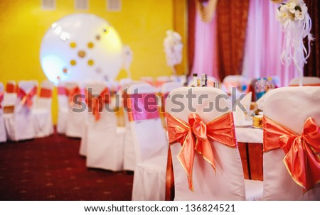 banquet in a restaurant, waits for guests - stock photo