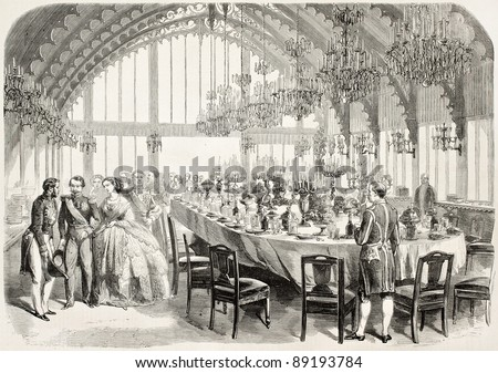 Banquet in honour of Napoleon III and empress Eugenie in Brest prefecture, old illustration. Created by Worms after photo of Bernier, published on L'Illustration, Journal Universel, Paris, 1858 - stock photo