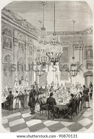 Banquet in Wilanow palace, Warsaw  (prince Jerome Napoleon and Alexander II of Russia meeting). Created by Godefroy-Durand, published on L'Illustration, Journal Universel, Paris, 1858 - stock photo