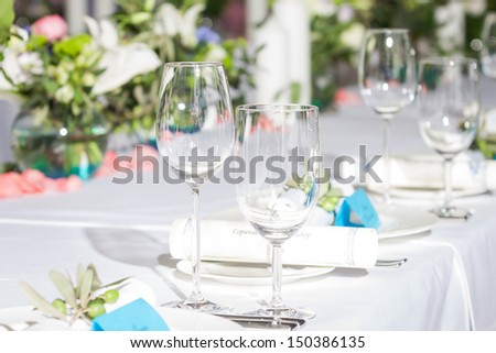 banquet table in glamors restaurant - stock photo
