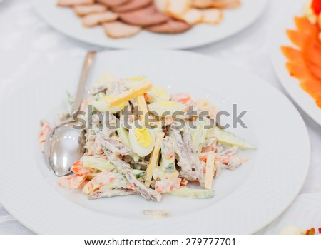 Banquet table served with delicious food. Delicious salad with neat tongue, vegetables and cheese on the plate - stock photo