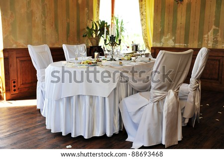 Banquet table setting for wedding dinner