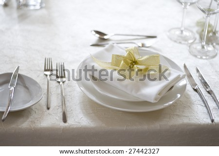 Banquet table setting for wedding in china - stock photo