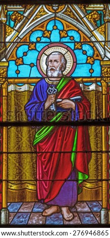 BANSKA BELA, SLOVAKIA - FEBRUARY 5, 2015: The St. Peter the Apostle on the windowpane of St. John the Evangelist church from end of 19. cent.