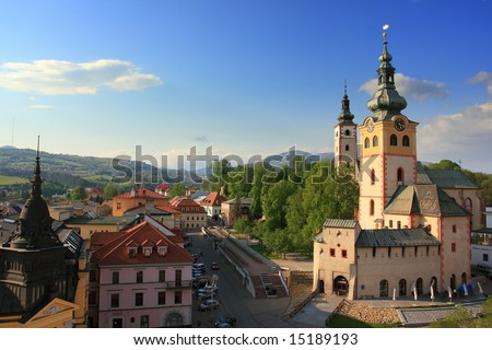 Banska Bystrica, Slovakia view from  leaning tower. - stock photo