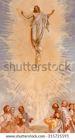 BANSKA STIAVNICA, SLOVAKIA - FEBRUARY 20, 2015: The Ascension of Christ fresco in the middle church of baroque calvary by Anton Schmidt from years 1745. - stock photo