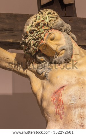 BANSKA STIAVNICA, SLOVAKIA - FEBRUARY 19, 2015: The detail of carved statue of Christ on the cross as the part of baroque Calvary from years 1744 - 1751.