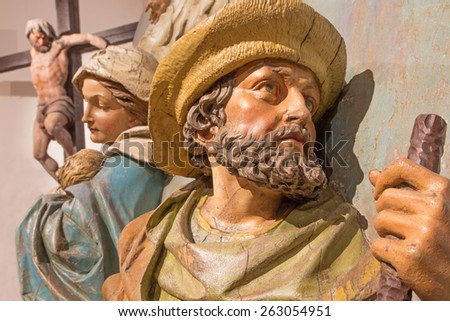 BANSKA STIAVNICA, SLOVAKIA - FEBRUARY 5, 2015: The detail of carved statue of St. Joseph and Mary as the part of baroque Calvary from years 1744 - 1751. - stock photo