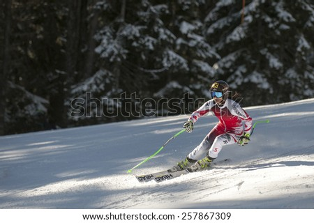 BANSKO, BULGARIA - FEBRUARY 26, 2015: Anna Fenninger (AUT)  in the official training run for the Audi FIS Alpine Ski World Cup Ladies' Super G  in Bansko, Bulgaria - stock photo
