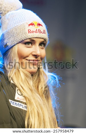 BANSKO, BULGARIA - FEBRUARY 27, 2015: Lindsey Vonn (USA)  at  the Audi FIS Alpine Ski World Cup Ladies' Super G  in Bansko, Bulgaria - stock photo
