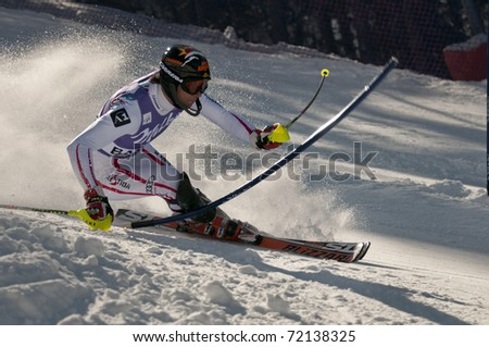 BANSKO, BULGARIA - FEBRUARY 27 :Mario Matt of Austria takes 1st place during the Audi FIS Alpine Ski World Cup Men's Slalom on February 27, 2011 in Bansko, Bulgaria