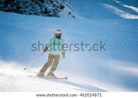 BANSKO, BULGARIA - JANUARY 1, 2016: people skiing at ski resort
