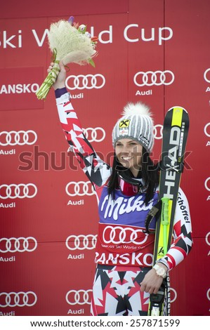 BANSKO, BULGARIA -  MARCH  2, 2015: Anna Fenninger (AUT)  takes 1st place during the Audi FIS Alpine Ski World Cup Ladies' Super G on MARCH  2, 2015 in Bansko, Bulgaria - stock photo
