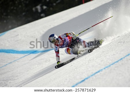 BANSKO, BULGARIA - MARCH  2, 2015: Lindsey Vonn (USA) competes in the Audi FIS Alpine Ski World Cup Ladies' Super G on MARCH  2 ,2015 in Bansko, Bulgaria - stock photo