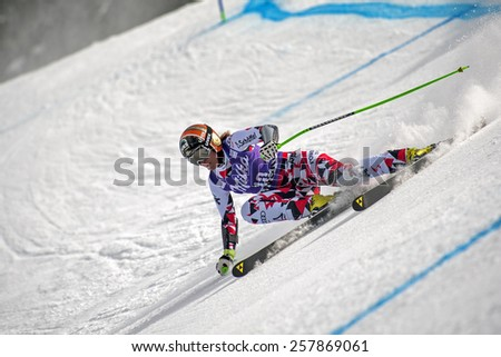 BANSKO, BULGARIA - MARCH  2, 2015: Nicole Hosp (AUT) competes in the Audi FIS Alpine Ski World Cup Ladies' Super G on MARCH  2 ,2015 in Bansko, Bulgaria - stock photo