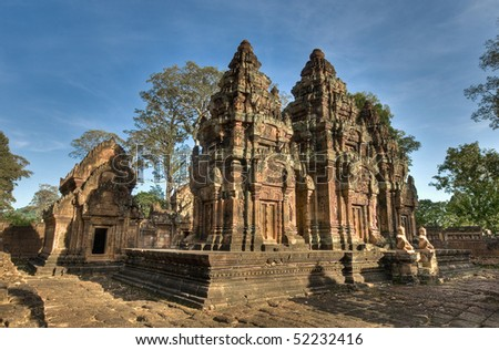 Banteay Srei at the north of the Angkor Temples, Cambodia - stock photo