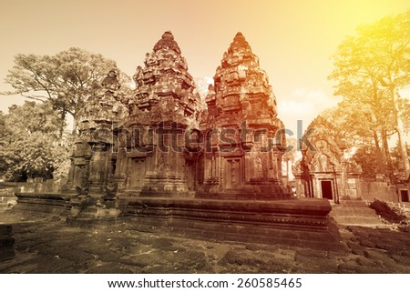 Banteay Srei castle, Cambodia. Vintage filter - stock photo