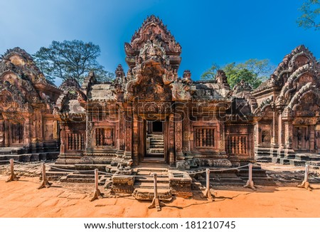 Banteay Srei hindu pink temple cambodia - stock photo