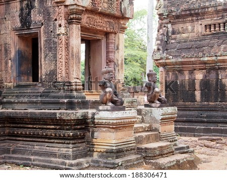 Banteay Srei in Angkor - Siem Reap, Cambodia - stock photo