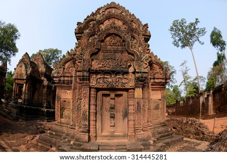 Banteay Srei Red Sandstone Temple at Siem Reap Province, Cambodia  - stock photo