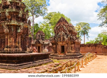 Banteay Srei Temple ancient ruins in sunny day, Siem Reap, Cambodia. - stock photo