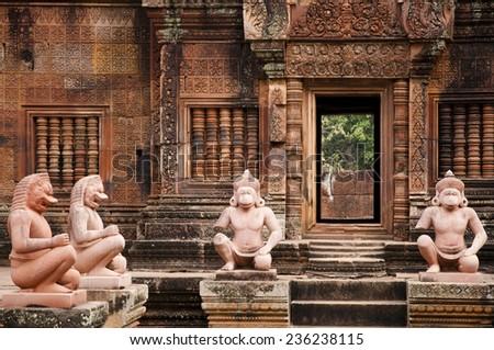 Banteay Srei Temple - Cambodia - stock photo