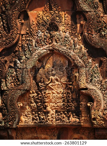 Banteay Srei - 10th century Cambodian temple dedicated to the Hindu god Shiva - stock photo