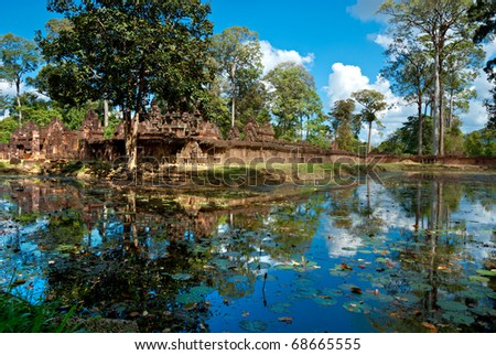 Banteay srei, The temple of woman, in pink sandstone.Angkor, Cambodia. - stock photo