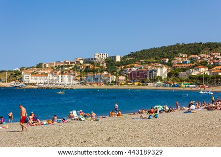 BANYULS-SUR-MER, FRANCE - JUNE 26: Tourists on the beach of this coastal town in the south of France, Mediterranean sea, Roussillon, Pyrenees Orientales, Vermilion coast.