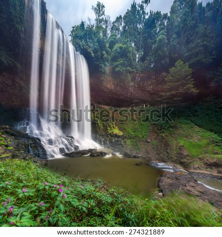 BAO LOC, VIETNAM, APRIL 30,th, 2015 : Dambri waterfall in central highland of Vietnam - stock photo
