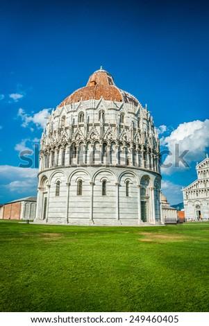 Baptistery on famous Piazza dei Miracoli, Pisa, Italy - stock photo