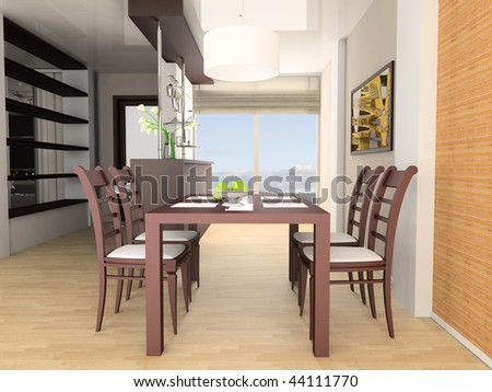 Bar and dining table 3d image