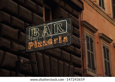 Bar and pizza sign in Italy - stock photo