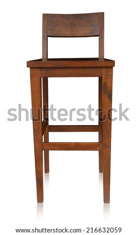 Bar chair isolated by hand made on white background, clipping path. - stock photo