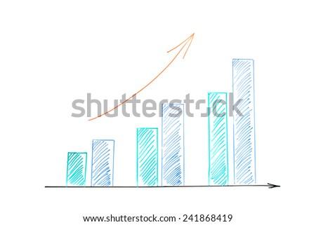 Bar chart business growth - stock photo