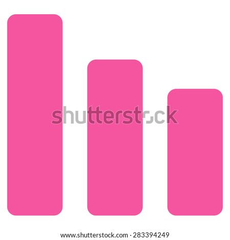 Bar chart decrease icon from Basic Plain Icon Set. Style: flat symbol icon, pink color, rounded angles, white background. - stock photo