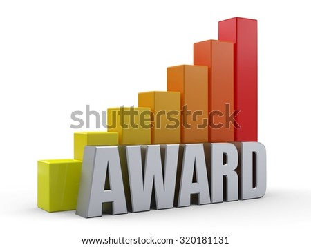 Bar chart in front of the word AWARD silver color - stock photo