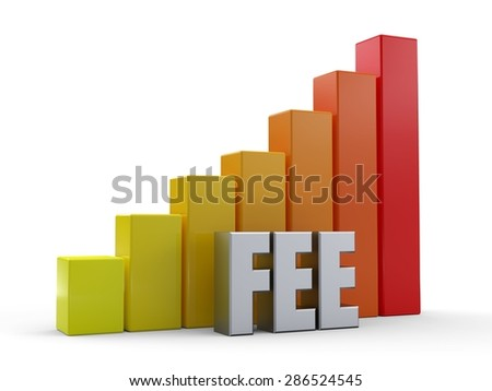 Bar chart in front of the word FEE silver color - stock photo