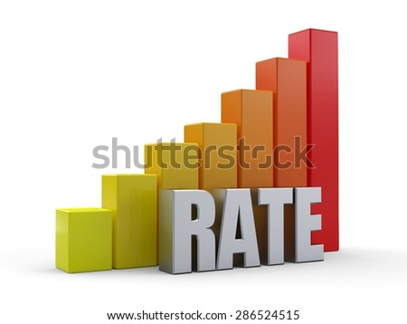 Bar chart in front of the word RATE silver color - stock photo
