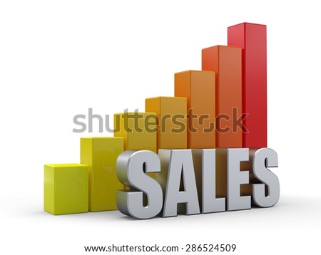 Bar chart in front of the word SALES silver color - stock photo