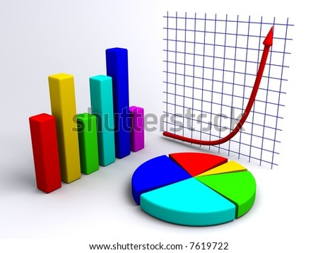 Bar chart, pie chart, and exponential plot composed to one image. - stock photo