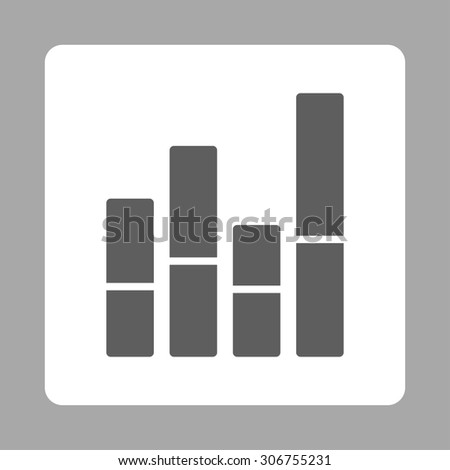 Bar Chart raster icon. This flat rounded square button uses dark gray and white colors and isolated on a silver background. - stock photo