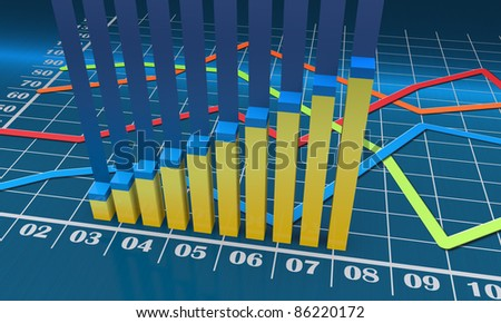 Bar chart with linear graph - stock photo