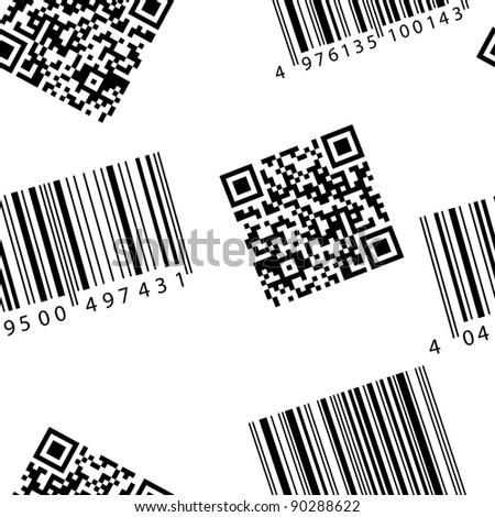 Bar code and qr-code. Seamless  wallpaper. - stock photo