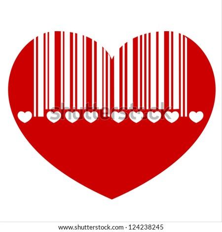 bar code heart, - stock photo