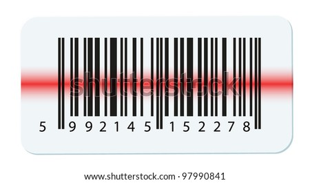 bar code isolated on white - stock photo