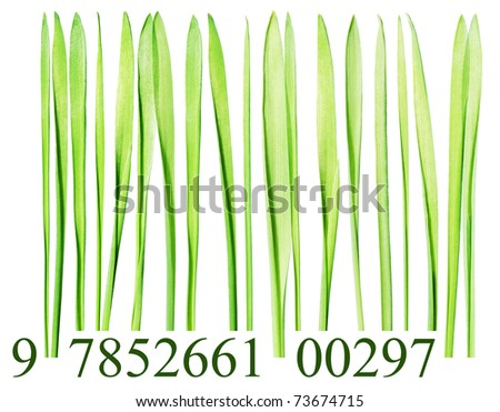 Bar code made from grass blades isolated on white - stock photo