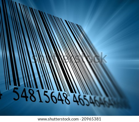 Bar code on a soft blue background - stock photo